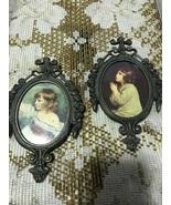 Vintage Gunmetal Frame Little Girl Prints Small Oval Wall Hangings Made ... - $10.00