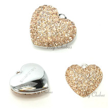 Swarovski European Fit Bracelet Charm Stainless BeCharmed Pave Heart Pen... - $11.25