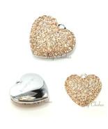 Swarovski European Fit Bracelet Charm Stainless BeCharmed Pave Heart Pen... - $11.25