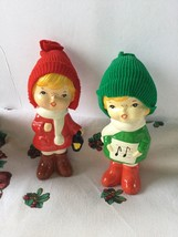 Cute Vintage Pair Of Christmas Children Carolers Figurines with Knit Hats - $8.95