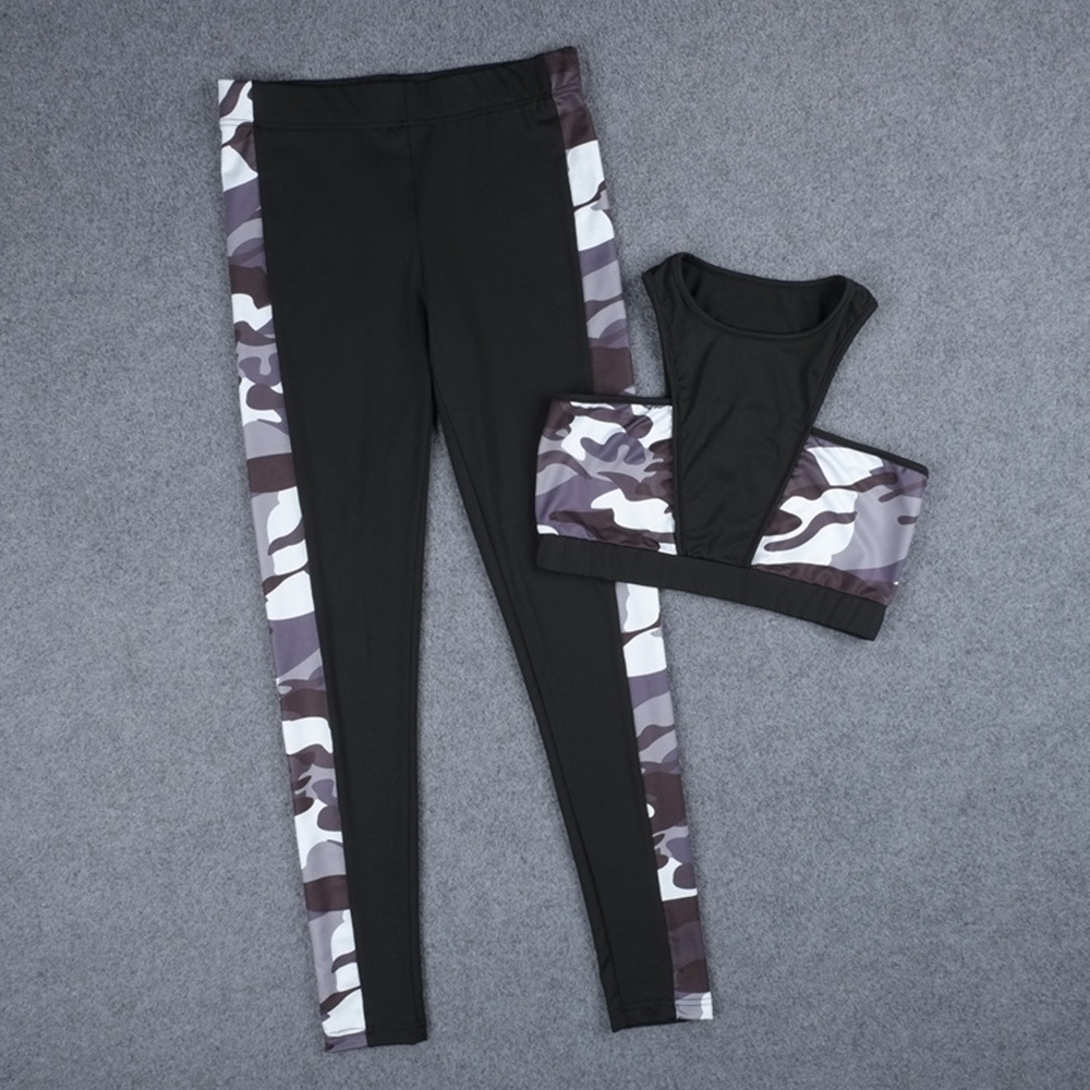 757ca17173 ... ZAFUL Women Yoga Set Camouflage Sports Wear Women Exercise Clothing  Dance Fitne ...