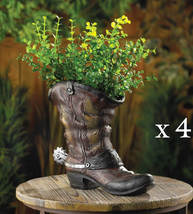 Lot of 4 SPURRED COWBOY BOOT PLANTERS Indoor Outdoor Party Centerpiece - $67.99
