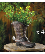 Lot of 4 SPURRED COWBOY BOOT PLANTERS Indoor Outdoor Party Centerpiece - $65.92