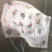 Bucilla Flowers of the Month Stamped Cross Stitch Lap Quilt Kit 40663 Op... - $39.99