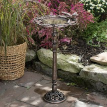 Carved Floral Bird Cast Iron Birdbath Outdoor Garden Lawn Yard Decoration - $87.48