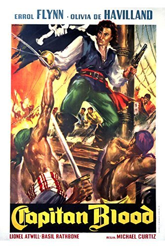 Errol Flynn in Captain Blood sword fight on ship art 16x20 Canvas Giclee