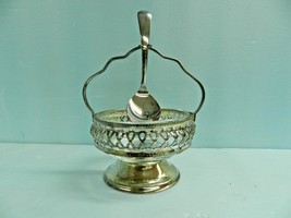 Vintage Made In England Silverplate Jam Condiment Server Caddy w/Spoon&I... - $42.45