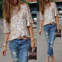 2016 High Street Sexy sequined oblique loose T-shirt Women t Shirt Summer style