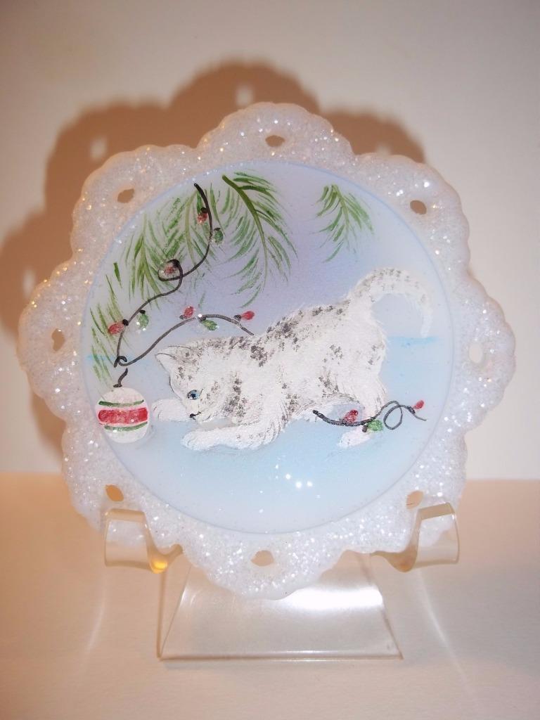 Fenton Glass Grey Tabby Cat Kitten Christmas Ornament NFGS Ltd Ed of 15 M Kibbe