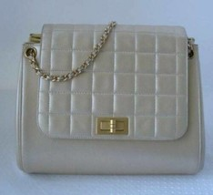 Auth CHANEL Pearlescent Cream Quilted Calfskin Classic Flap Handbag GH - $1,899.99
