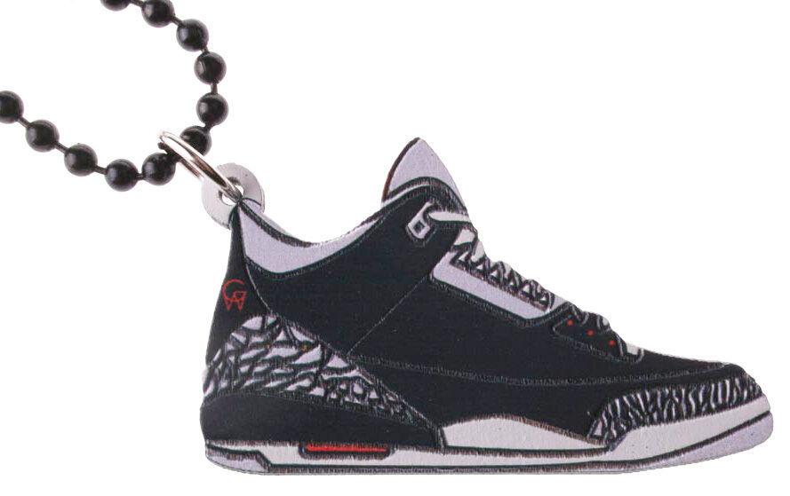 Good Wood NYC Black Cement 3 Wooden Sneaker Necklace black/Grey Shoes III Kicks