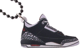 Good Wood NYC Black Cement 3 Wooden Sneaker Necklace black/Grey Shoes III Kicks image 1