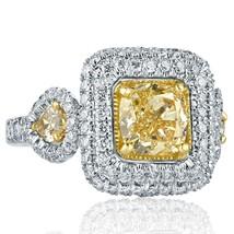 3.31 TCW Yellow Cushion Cut Pear Side Diamond Engagement Ring 18k White Gold - $6,533.01
