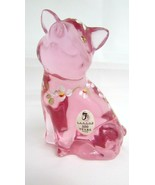 Fenton Lenox Hand Painted Floral Daisy Pink Pig Figurine Paperweight~ Si... - $56.43