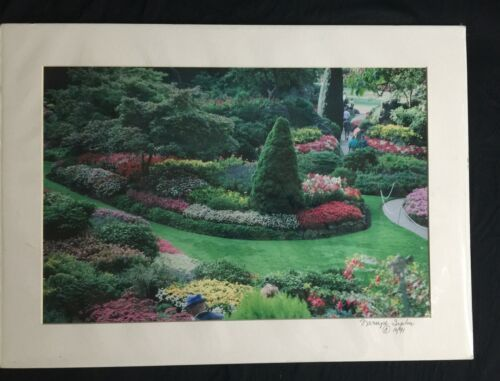 """Matted 18"""" x 12"""" Color Photograph Butchart Gardens Canada Green"""