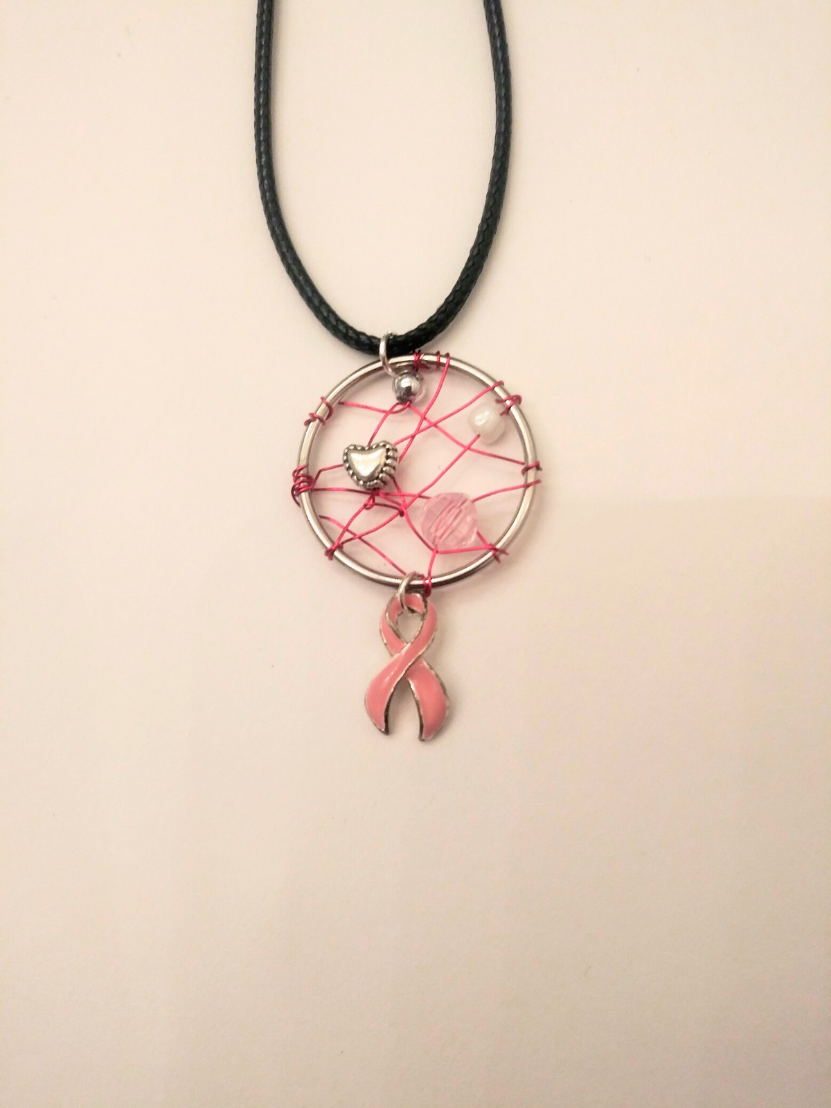 Handmade pink silver and white breast cancer necklace