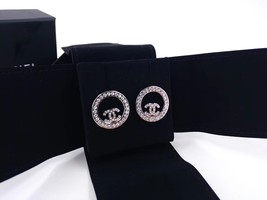 BRAND NEW Authentic Chanel CC Circle Logo Crystal Strass Silver Stud Earrings  image 3