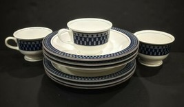 """3 Pc. Mikasa Potter's Touch Aztec Blue: 8 1/4"""" Salad Plate, 1 Soup bowl ... - $64.35"""