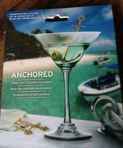 Nautical ANCHORED Stainless Steel Cocktail Picks, Set of 6 Drawstring Ba... - $293,47 MXN