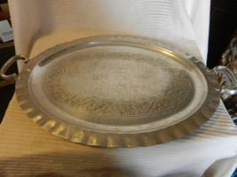 Vintage Everlast Hand Forged Aluminum Serving Tray Grapes and Leaves Design - $55.69