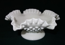 """Fenton Milk Glass Hobnail Double Ruffled Candle Bowl/Compote Footed 8"""" - $7.71"""