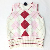 Gap Girl Size Medium Vest White/Pink/Red (7-8) Argyle/Diamond - $15.84