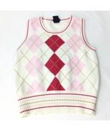 Gap Girl Size Medium Vest White/Pink/Red (7-8) Argyle/Diamond - $15.84