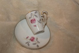 Napco small cup and saucer with pink roses gold trim silver leaves - $11.88