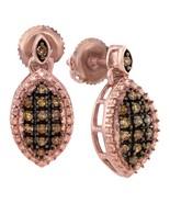 10k Rose Gold Round Brown Diamond Dangle Screwback Fashion Earrings 1/3 - $248.41