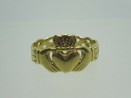 Vintage 9K Gold Claddagh Ring with Celtic Weave Band,Size 9.5,Made in Ir... - $210.00
