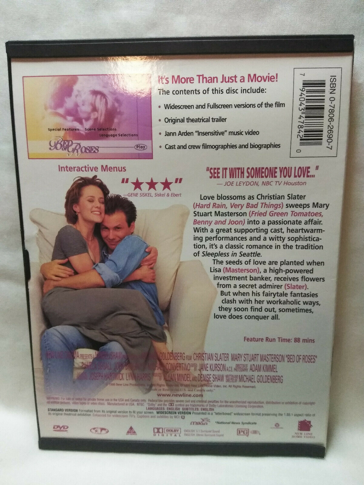 Bed of Roses (DVD, 1999, Full Frame  Anamorphic Widescreen) Christian Slater image 2
