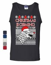 Christmas Is Coming Direwolf Tank Top GoT Parody Ugly Sweatshirt Sleeveless - $10.09+