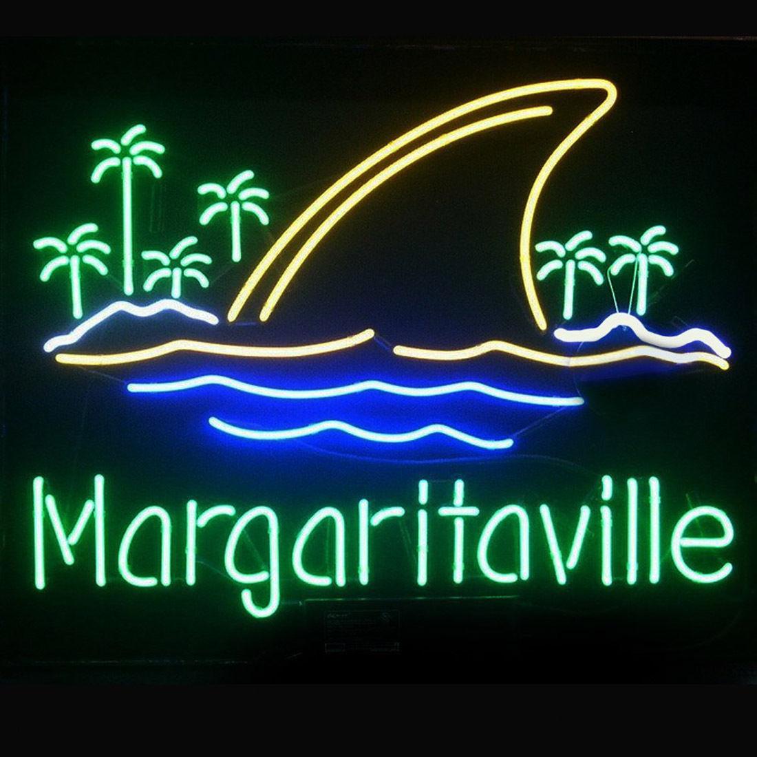 """New Jimmy Buffett Margaritaville Paradise Landshark Beer Neon Sign 24""""x20"""""""