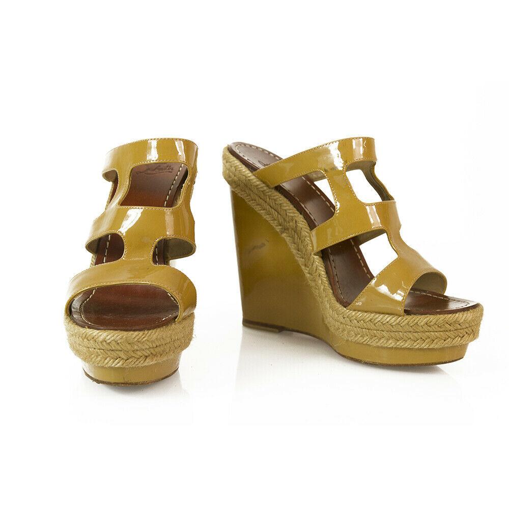 CHRISTIAN LOUBOUTIN Salamanca Espadrille beige Patent Leather Wedges Shoes sz 37