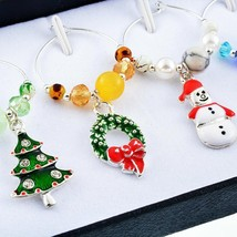 Christmas Wine Mixed Charms 6pcs Glass Pendants Table Home Decorations O... - $9.99