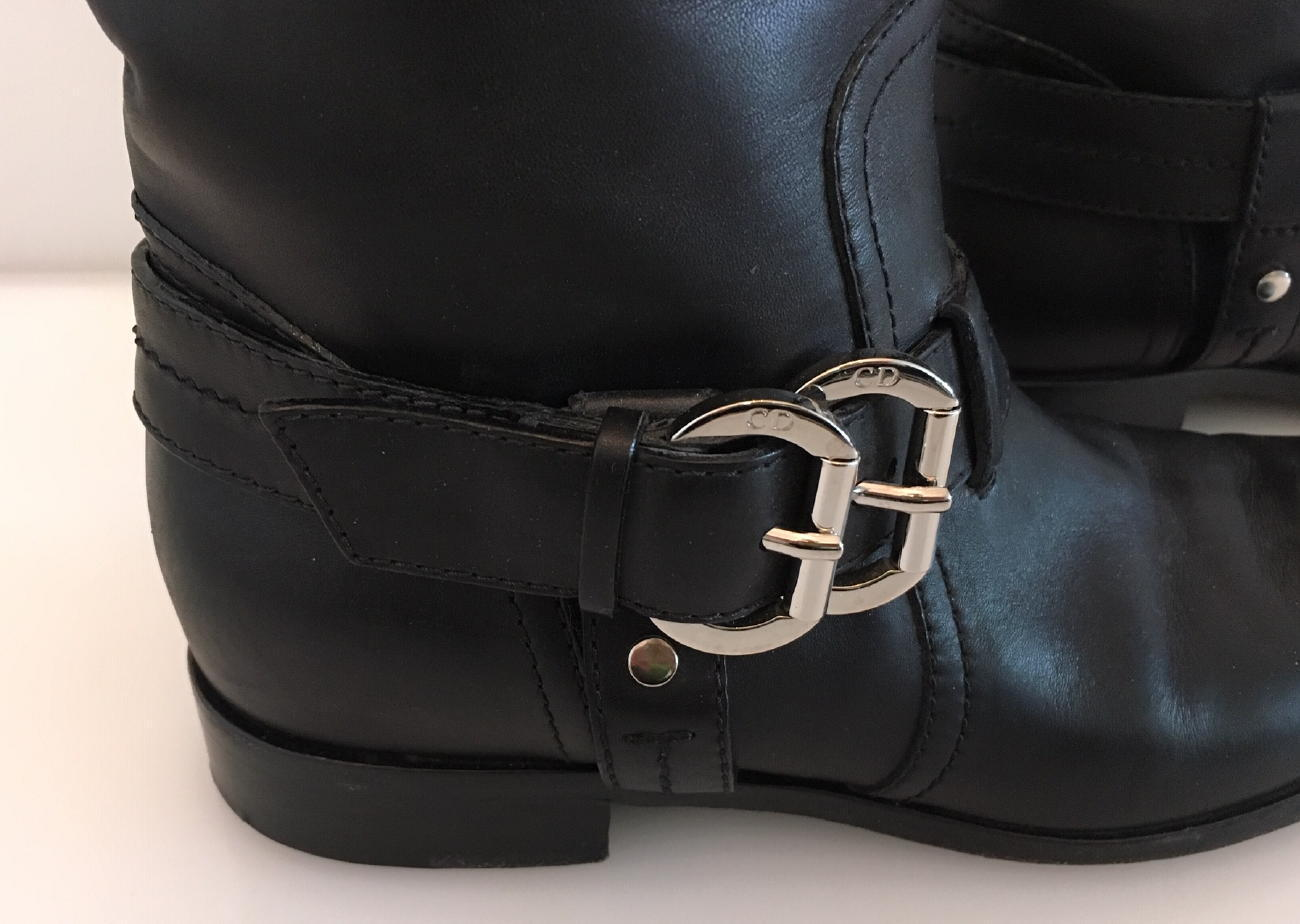 Christian Dior Black Leather Motorcycle Boots 38
