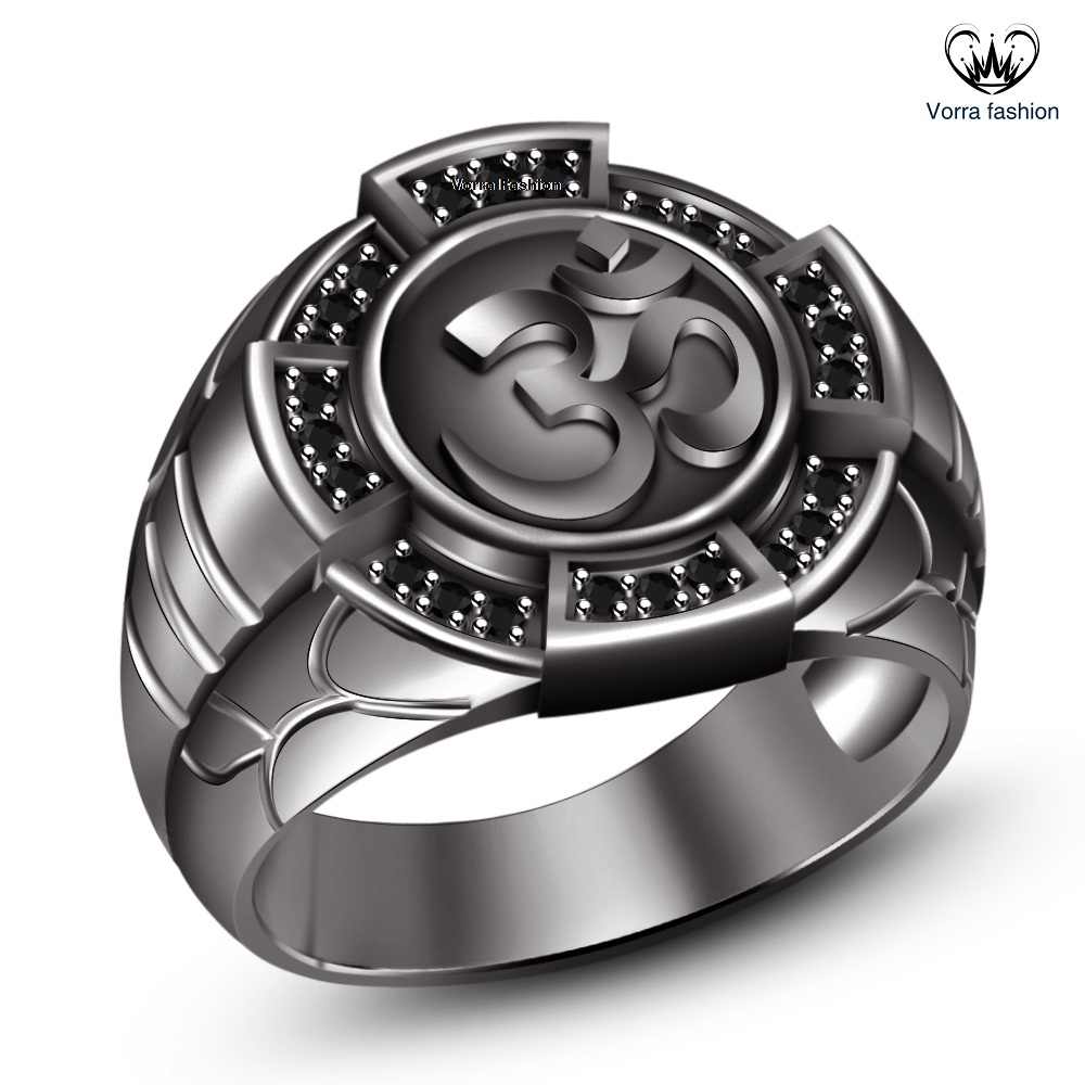 "Primary image for Hindu Dharma Black Gold Plated 925 Silver Round Cut CZ Men's SPL Hindu ""OM"" Ring"