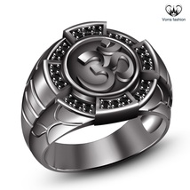 "Hindu Dharma Black Gold Plated 925 Silver Round Cut CZ Men's SPL Hindu ""OM"" Ring - $116.19"
