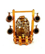 Decoration Adornment Gift Ceramic Vintage Wine Barrel Tea Cup Wooden Fun... - $15.83