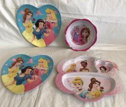 Disney Princess Divided Plate, 2 Heart Shaped Plates & Bowl Melamine Zak! - $20.99