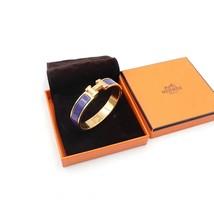 Authentic Hermes Navy Blue Enamel Gold H Clic-Clac Bracelet PM RARE image 2