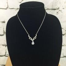 Avon Silver Toned Elegant Formal Necklace Teardrop Pendant Wings Spread - $13.86