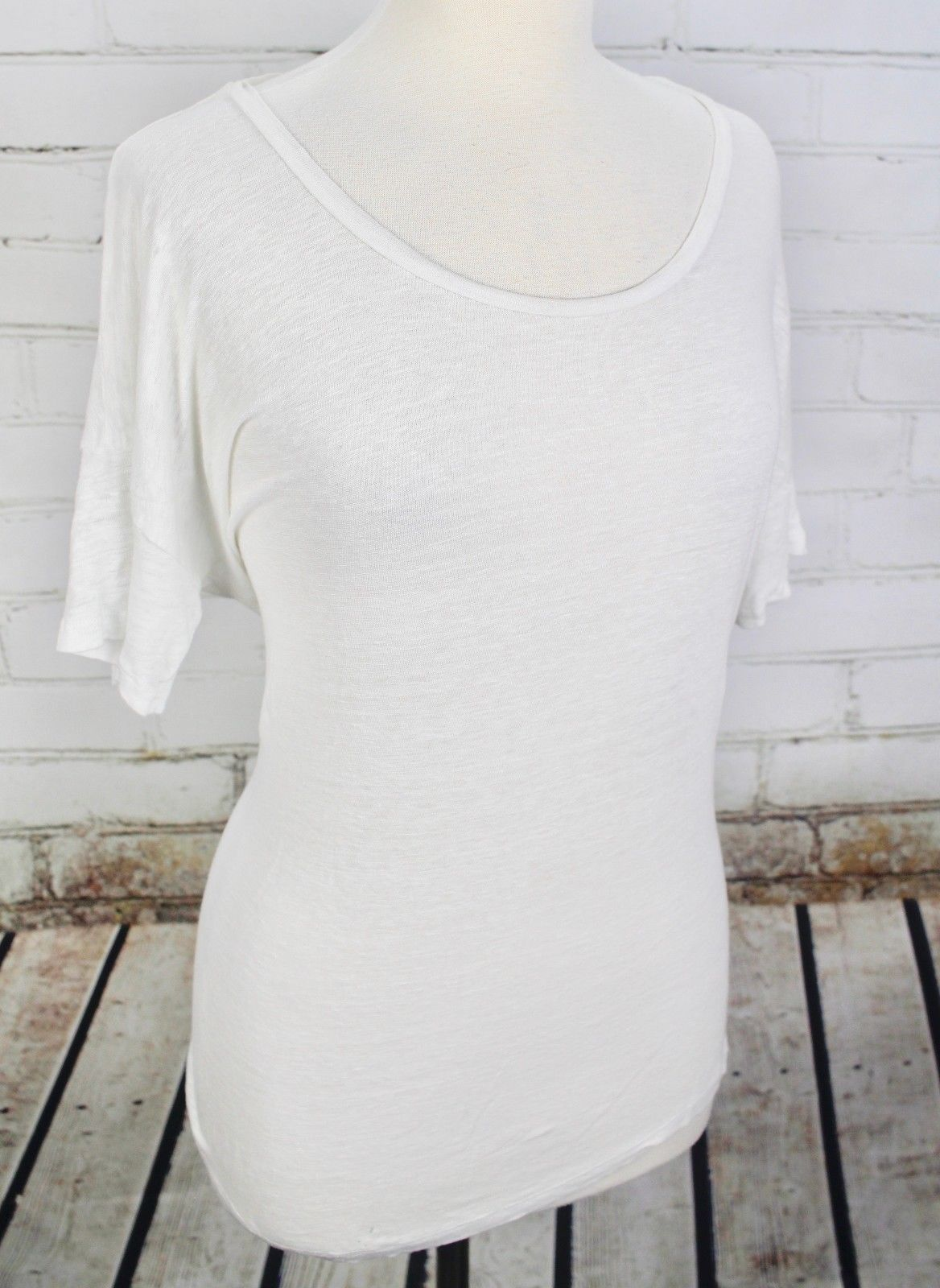 J Crew Boyfriend T-Shirt 100% Linen Tee Women's M White Short Sleeve Top Dolman