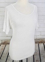 J Crew Boyfriend T-Shirt 100% Linen Tee Women's M White Short Sleeve Top... - $33.66