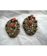 "Faux Pearl Coral Rhinestone Gold Tone Fur Dress Clip Pair 2"" missing 2 s... - $24.74"