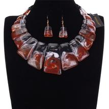 Women's Tribal Style Brand Fashion Tri Color Beaded Choker Necklace Earrings Set image 2