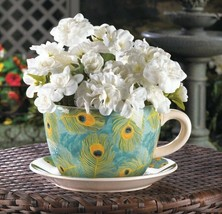 Large Peacock Feather Teacup and Saucer Planter Drain Hole Bottom of Teacup - $28.66