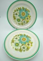 "Noritake Craftone BLUE SKY 8760 Dinner Plates 10 5/8"" Aqua, Green Bands, Floral - $29.99"