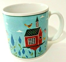 Sakura Warren Kimble Birdhouse Coffee Cup Mug White Americana Patriotic ... - $14.01