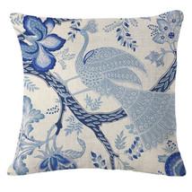 "18""Pillow Case Cushion Cover Home Decor Blue and White Cotton Linen Throw - $7.50"